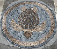 Wonderful stone mosaic loggerhead turtle by Kevin Carman