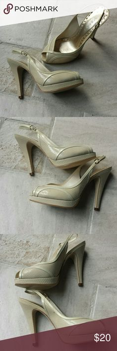 BCBG nude heels size 7 1/2 Women's size 7 1/2 BCBG nude heels, they are a slingback heel with an open toe BCBGirls Shoes Heels