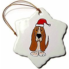 Basset Hound Puppy Dog In Santa Claus Hat - Snowflake Christmas Ornament, Porcelain, 3-Inch