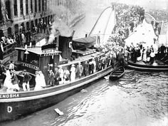 The tugboat Kenosha served as a floating bridge to let survivors reach safety.