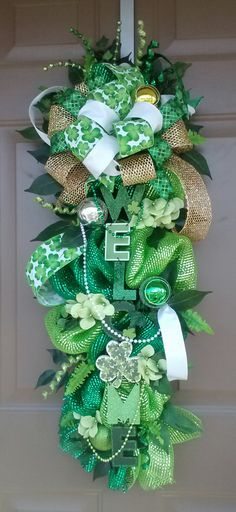 SOLD St. Patrick's Day Deco Mesh Swag-St. Patrick's by wreathsnpretties
