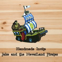 Jake and the Neverland Pirates Invitation with Pop Up Characters and Party Supplies Handmade and Custom Designed by InkSpireVe by Inkspireve on Etsy