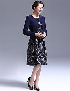 A-line Mother of the Bride Dress - Dark Navy Knee-length Long Sleeve Polyester 4446180 2016 – $59.99