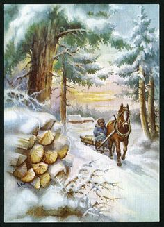 "Vintage christmas/winter - This makes me think of Robert Frost's ""Stopping by Woods on a Snowy Evening"" - EMRS"