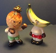 Vintage Anthropomorphic 1956 Napco Boxing Fruit Salt and Pepper Shakers sports