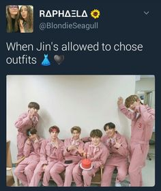 Hahaha poor bts, have to wear what jin wants TT: @taeilmesomethin