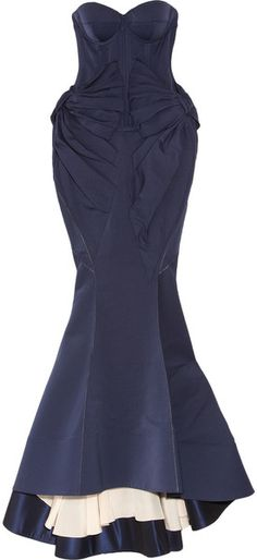 Midnight Skies by Zac Posen Cotton-blend Twill Fishtail Gown     dressmesweetiedarling