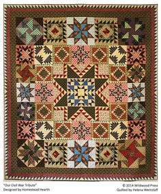 "This quilt is called Our Civil War Tribute and is from the Civil War Block of the Month series made with Judie Rothermel reproduction fabric. It measures 108"" X 108""."