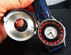 SWISS MADE SOLID STEEL ROULETTE WITH CORONA CASINO GAME QUARTZ MEN WATCH