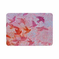 "Marianna Tankelevich ""Bird's Dream"" Lavendar Pink Memory Foam Bath Mat"