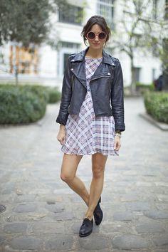 Dress : Dasha blue plaid dress Goldie London   Jacket: Thailand  Glasses: Asos  Shoes: Clif