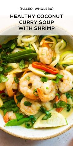 This coconut curry soup recipe with shrimp and zoodles is Whole30 and Paleo. It's a super easy weeknight meal and packed with veggies! This recipe proves healthy eating can happen in 30 minutes or less. #Paleo #PaleoRecipe #Whole30 #WeeknightMeal #WeeknightRecipe #Curry #CurrySoup Zoodle Recipes, Soup Recipes, Coconut Recipes, Low Carb Recipes, Coconut Curry Soup, Stuffed Sweet Peppers, Easy Weeknight Meals, Whole30, Easy Dinner Recipes