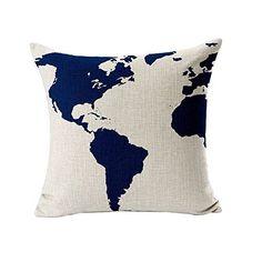 "Tenworld Burlap Linen World Map Decorative Pillow Case Cushion Cover 20"" x 12"""