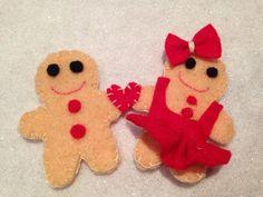 gingerbread couple man lady love dress. felt christmas tree decoration