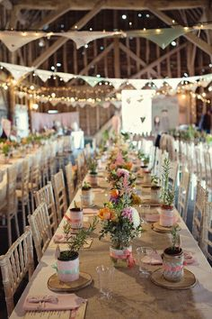 bunting, colorful flowers, ribbon, burlap and lights. @Aubrey Martin: Cute I never thought about hanging long fabric banners with the lights above the tables... this is cute, and would be easy to make!!