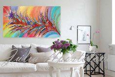 Large Painting Floral Abstract Art Rainbow por JuliaApostolova