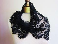 Vintage black lace mantilla scarves lot 4 by fabriquefantastique, $40.00