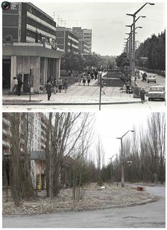 A combination of images, taken in 1982 and on March 31, 2011 (bottom), shows the before and after view of the abandoned city of Prypiat near the Chernobyl nuclear power plant.