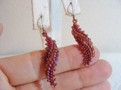 Vtg Glass Seed Bead Gold Purple Pink Swirl Dangle Sterling Silver 925 Earrings | eBay