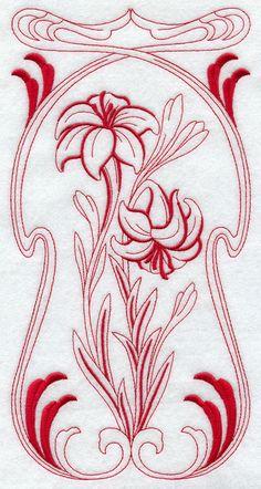 Art Nouveau Lily (Redwork)