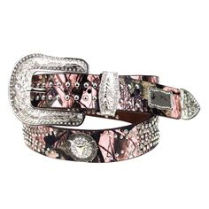 www.thewesternboutique.com  Pink Camouflage Longhorn Belt  The Western Boutique offers a wide selection of beautiful Texas and Rodeo style Cowgirl Bling Belts. Made of genuine leather and cowhide. These western belts feature Rhinestones, Crystals, Crosses, Conchos, and Pistols.