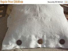 Autumn sale Lovely Handmade Ecru Linen Pillow Case by LinenFactory