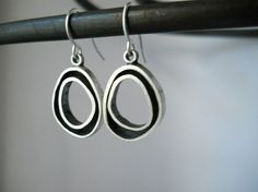 organic hoop earrings sterling silver hand by Q2jewelrycollection, $40.00