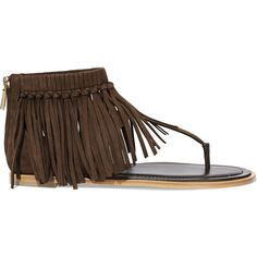 Tod's Fringed suede sandals ($685) ❤ liked on Polyvore featuring shoes, sandals, brown, zip shoes, brown suede sandals, boho sandals, suede fringe sandals and brown sandals