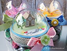 Papertrey Ink Petite Places church. Easter mason jar project by Wanda Guess