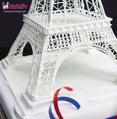 Close up of the Eiffel tower cake topper made for a tutorial at Yeners Way. http://www.yenersway.com/tutorials/cake-toppers/eiffel-tower-cake-topper/