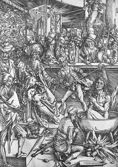 Scene from the Apocalypse, The martyrdom of St. John the Evangelist, Latin edition by Albrecht Dürer