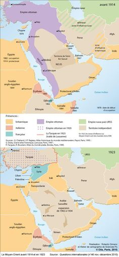 Middle East before 1914 and in 1923 Middle East before 1914 and in 1923 Bagdad, History Class, World History, Historical Maps, Historical Pictures, The Middle, Middle East, Empire Ottoman, European Map