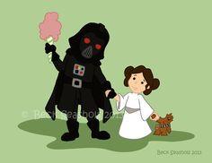 Darth Vader and Leia Cartoon Art Print by Beckadoodles on Etsy, $5.00