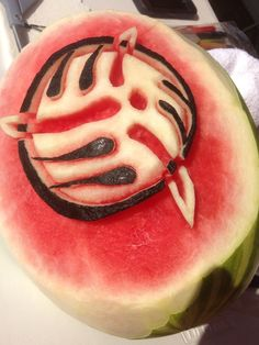 Watermelon Art! Buddy of mine carved the Dig4Diabetes logo into a watermelon! It tasted very sweet! Watermelon Art, Carving, Logo, Hands, Sweet, Fruit, Joinery, Logos, Sculpture