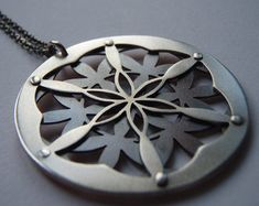 Double Layer Flower of Life Pendant - oxidised copper and sterling silver - Sacred Geometry