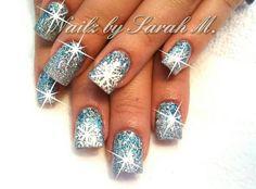 snowflake acrylic nails | Acrylic winter nails | Nails By Sarah