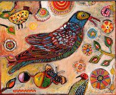 Jill Mayberg ~ Bird Red Beak and Butterfly Peach Day Print.