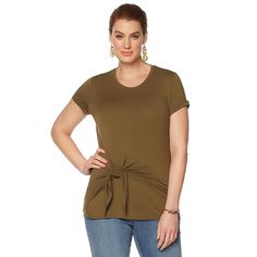 G by Giuliana Speckled Jersey Tie-Front Tee - Green