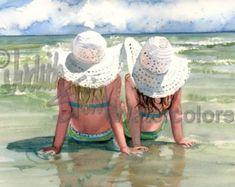 « Plage Breeze » est un Open Edition Giclee Art Print dune aquarelle avec une jeune fille assise sur la plage en regardant les mouettes. Il sagit dune belle journée venteuse de sasseoir sur les bords de la mer et de laisser le sable chaud de vos pieds nus. Cette jeune miss ne peut pas attendre le jour que cest juste un peu plus chaud pour une baignade dans les vagues de locéan. Cette brise de printemps est toujours un peu trop froid pour un maillot de bain, mais dans environ un mois, maillot…