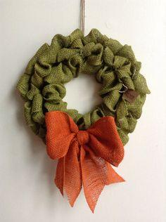 Green fall burlap wreath, bubble style with orange burlap bow!