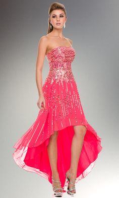 # Sequined High-Low Prom Dress #sequinpromdress #high-lowpromdress #hotpinksequindress