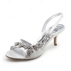 Satin Upper Mid Heel Strappy Sandals Wedding Bridal Shoes.More Colors Available