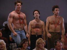 Puddy, Jerry, and Kramer. Patrick Warburton, Rules Of Engagement, Seinfeld, Hairy Men, Man Humor, Gorgeous Men, 1, Celebs, Entertaining