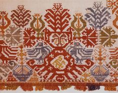 """Polychrome silk yarns on undertermined ground. Design shows nine repeats of the """"glastra"""" pattern flanked by birds and small ships; embroidery along one long side and … Folk Embroidery, Embroidery Patterns, Cross Stitch Patterns, Greek Pattern, Greek Design, Cross Stitch Bookmarks, Museum Of Fine Arts, Design Show, Textile Patterns"""