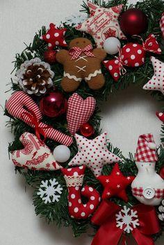 Türkranz Weihnachten Lebkuchenmann Herz Stern Elch Tilda Landhaus