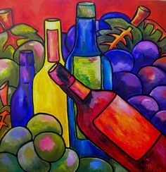 Wine Paintings | Wine In Orange Painting