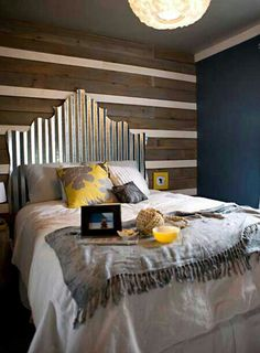 Country-Rustic Style galvinized tin grooved roof panels w/scrolled-decorative top edge & hung behind bed as h.board