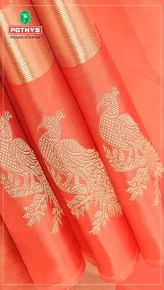 This peach kalakshetra pattu is the ideal pick for a colorful party evening, its peacock motifs in the border is the highlight of this saree! #Pothys #Motif #KalakshetraPattu #SareeSwag