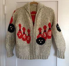 Mary Maxim Men's No. 440 10 Pin Bowling sweater jacket