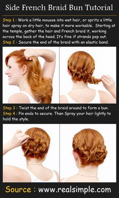 Side French Braid Bun Tutorial. I might have pinned this one already, but that just shows how badly I want to try it lol